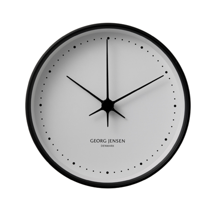 Koppel - 10cm Wall Clock in black stainless steel with white dial
