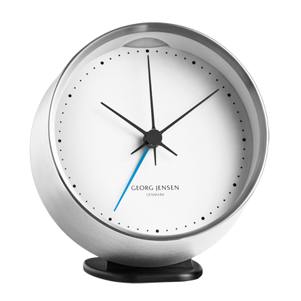 Koppel - 10cm Alarm Clock in stainless steel with white dial
